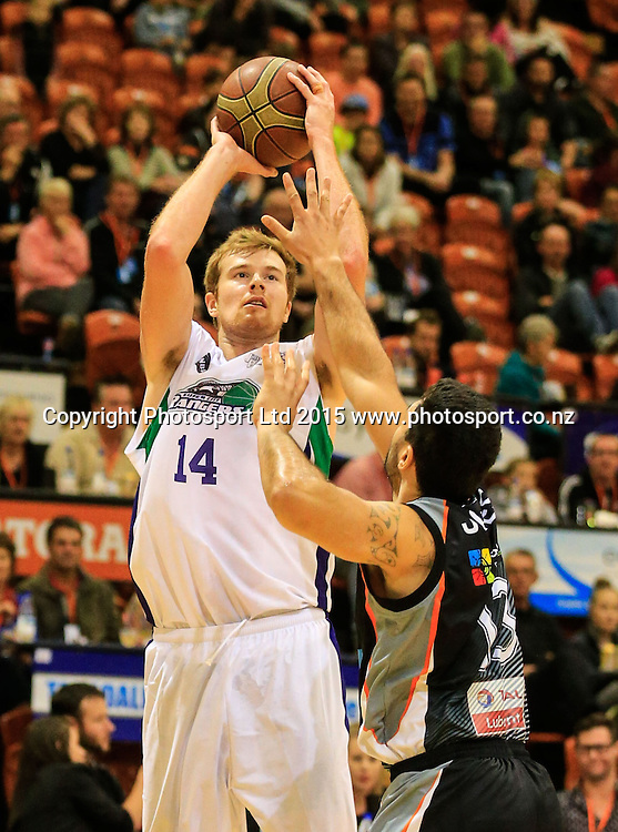 Ranger's Tom Garlepp puts up a shot. NBL basketball, Hawkes Bay Hawks  v Super City Rangers, PG Arena, Napier, New Zealand. Saturday, 18 April, 2015. Copyright photo: John Cowpland / www.photosport.co.nz