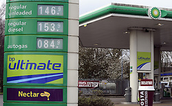© Licensed to London News Pictures. 11/03/2012.Rising cost of petrol..Very High fuel prices at the Medway  BP petrol station on the M2 in Kent (today 11.03.2012).Photo credit : Grant Falvey/LNP
