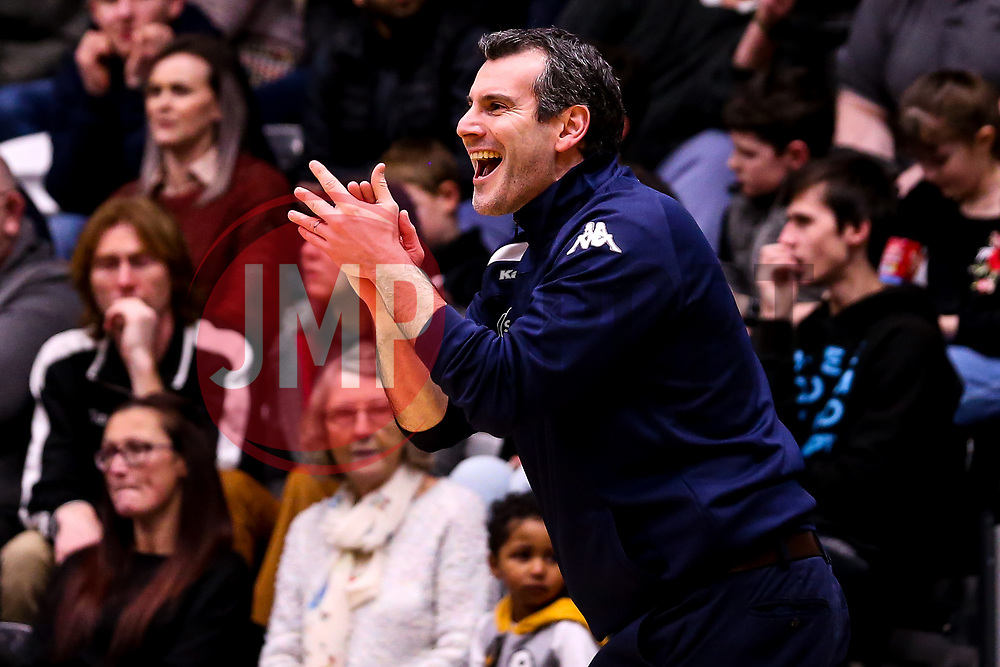 Bristol Flyers head coach Andreas Kapoulas - Photo mandatory by-line: Robbie Stephenson/JMP - 01/03/2019 - BASKETBALL - Eagles Community Arena - Newcastle upon Tyne, England - Newcastle Eagles v Bristol Flyers - British Basketball League Championship