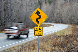 The Alaska Department of Transportation is proposing to widen and realign a 21.8-mile section of the two-lane Haines Highway (AK 7) near Haines, Alaska and bring the road up to federal highway standards. The department&rsquo;s goal is to widen the highway, replace the Chilkat River Bridge, help control landslides and bring the speed limit up from 50 to 55 mph by straightening curves, like this curve at mile 17 of the highway. Much of the rural highway travels through the Alaska Chilkat Bald Eagle preserve. <br /> <br /> Some Haines residents worry about the impact the straightening will have on a 15-mile section of the road through the preserve. Bald eagle perching and roosting trees, wetlands and salmon spawning habitat and cultural sites could potentially be affected. The straightening of the curve shown is one of the curves which would require significant work including wetland mitigation and stream relocation.<br /> <br /> The Alaska Chilkat Bald Eagle Preserve is the location of one of the largest gatherings of bald eagles in the world each fall. The 48,000 acre area was designated as a preserve in 1982. The Haines Highway is the only road access to Haines. The 152 mile highway travels from Haines, Alaska to Haines Junction, Yukon in Canada where it connects with the Alaska Highway and continental highway system.
