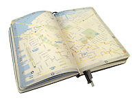 moleskine journal with maps of new york city