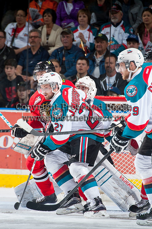 KELOWNA, CANADA - MAY 1: Josh Morrissey #27 of Kelowna Rockets checks Oliver Bjorkstrand #27 of Portland Winterhawks during game 5 of the Western Conference Final on May 1, 2015 at Prospera Place in Kelowna, British Columbia, Canada.  (Photo by Marissa Baecker/Getty Images)  *** Local Caption *** Oliver Bjorkstrand; Josh Morrissey;