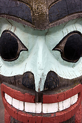 Detailed view of a totem pole, Anchorage, Alaska, United States of America