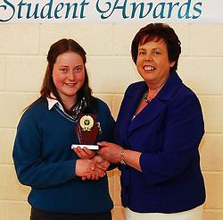 Sancta Maria College's Student Awards.Spirit of the School award was presented to Emma O'Malley by School principal Pauline Moran...Pic Conor McKeown