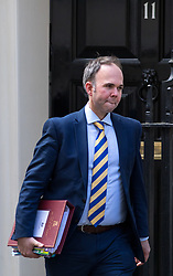 © Licensed to London News Pictures. 16/04/2018. London, UK. Downing Street Chief of Staff Gavin Barwell leaves 11 Downing Street. British Prime Minister Theresa May is about to make a statement to MPs on Britain's decision to launch airstrikes on a Syrian chemical weapons facility over the weekend. MPs today return from Easter recess. Photo credit : Tom Nicholson/LNP