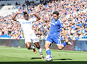 Peter Whittingham of Cardiff City and Hadi Sacko of Leeds United during the EFL Sky Bet Championship match between Cardiff City and Leeds United at the Cardiff City Stadium, Cardiff, Wales on 17 September 2016. Photo by Andrew Lewis.