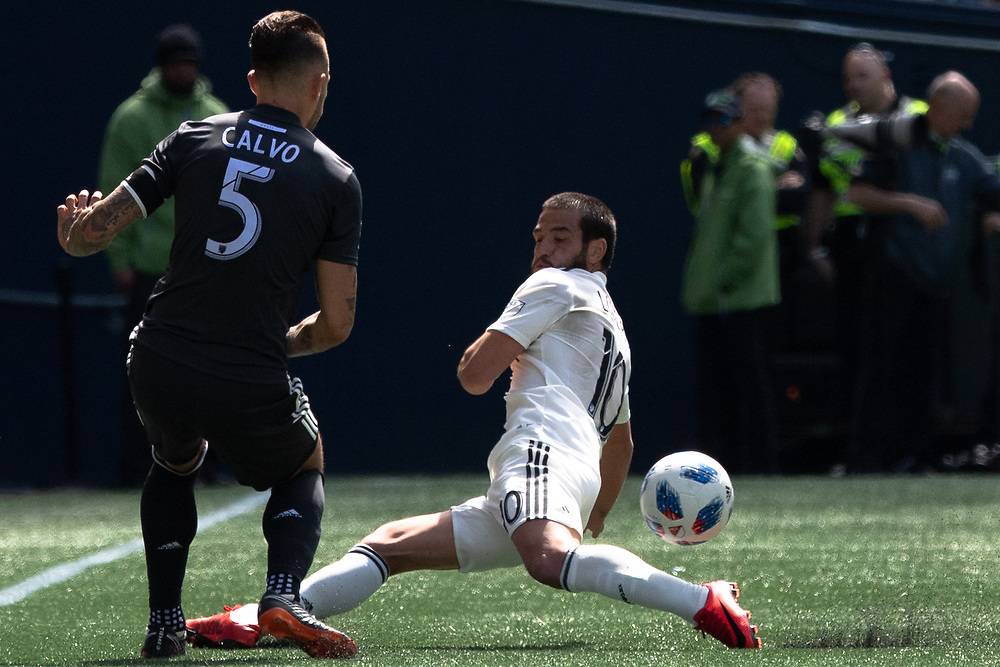 April 22, 2018; Seattle, Washington, US;  during in action between the Seattle Sounders FC and the Minnesota United at Century Link Field. Photo credit: Rick May - Rick May Photography