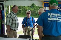 John Sleeper, Don Mullally, Dexter Willson and Brent Beck during the preparation for the 70th Anniversary celebration of the Kiwanis Pool in St. Johnsbury Vermont.  Karen Bobotas / for Kiwanis International