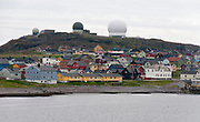 The city of Vardö in Finnmark county, northern Norway. At the top of the hill Vaarberget is the large and very advanced radar known as Globus 2.