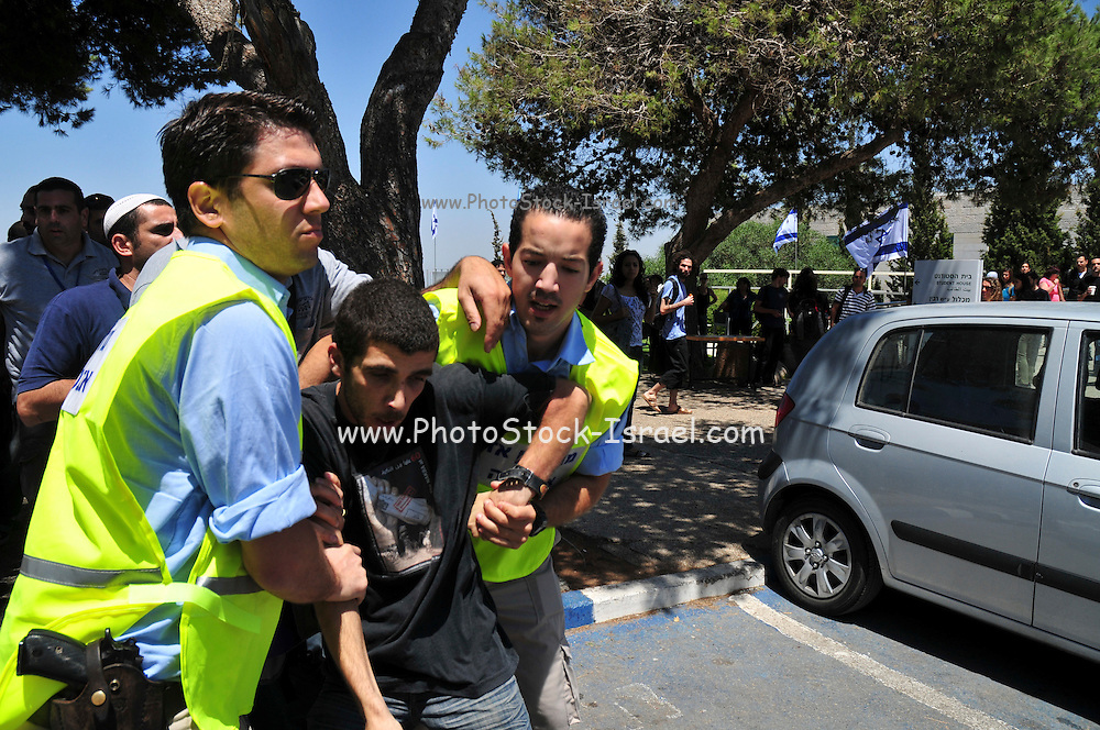 Israel, Haifa University a Pro Palestinian demonstration. Demonstrator is arrested by Israeli police