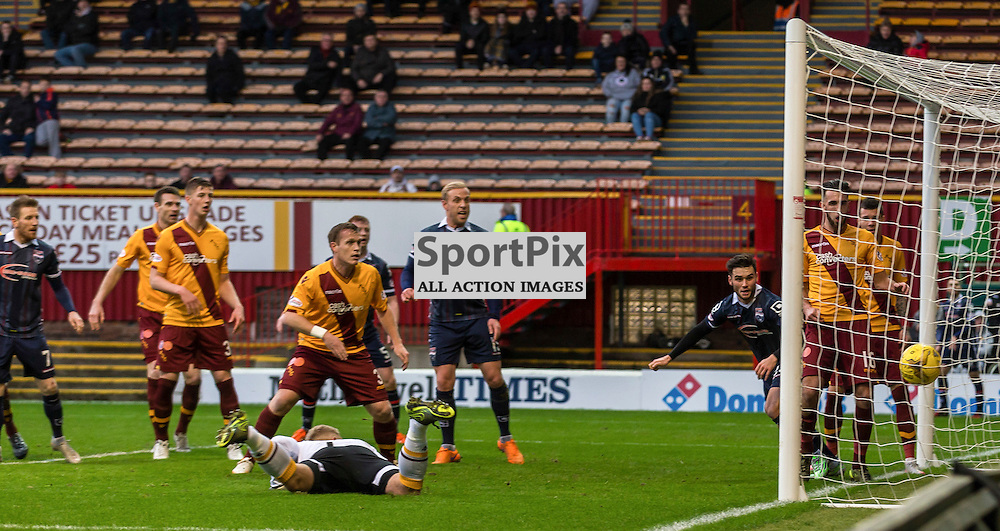 Jackson Irvine scores during the match between Motherwell and Ross County (c) ROSS EAGLESHAM | Sportpix.co.uk