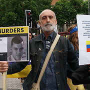 London, England, UK. 30th July 2017. Cuba and Venezuela - On the front line of anti-imperialism protest Defend the Venezuelan Revolution against fascism and imperialism counter protest and anger rise on both side as Venezuelan's head to the polls to vote in the Constituent Assembly elections at Embassy of Venezuela.