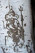 Ganesh Tree shrine. North of Tirukovil. East Coast.<br /> Ganesh shrine. drawing on tree beside main shrine East Coast