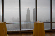 New York. elevated view on the Woolworth building, south Manhattan skyline under the rain.view from 7 wall trade center building.   /  le Woolworth building et le skyline du sud de Manhattan sous la pluie. vue depuis l academie des sciences 7 wall trade center building. New york - Etats unis