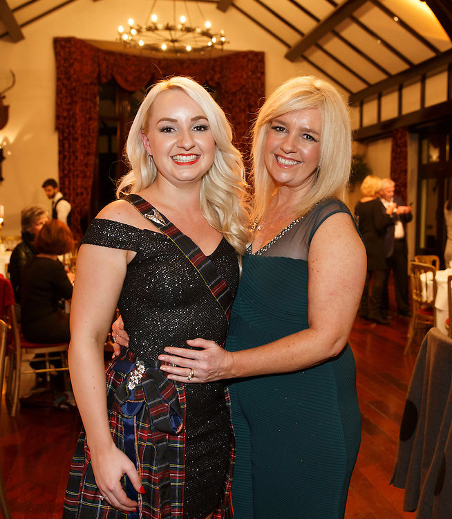 Burns Supper event in at the Brig o'Doon Hotel in Alloway.  L to R :  Singer Nicola Cassells and her mother Julie Cassells of Cassells Couture. Picture Robert Perry  24th Jan 2016<br /> <br /> Must credit photo to Robert Perry<br /> FEE PAYABLE FOR REPRO USE<br /> FEE PAYABLE FOR ALL INTERNET USE<br /> www.robertperry.co.uk<br /> NB -This image is not to be distributed without the prior consent of the copyright holder.<br /> in using this image you agree to abide by terms and conditions as stated in this caption.<br /> All monies payable to Robert Perry<br /> <br /> (PLEASE DO NOT REMOVE THIS CAPTION)<br /> This image is intended for Editorial use (e.g. news). Any commercial or promotional use requires additional clearance. <br /> Copyright 2014 All rights protected.<br /> first use only<br /> contact details<br /> Robert Perry     <br /> 07702 631 477<br /> robertperryphotos@gmail.com<br /> no internet usage without prior consent.         <br /> Robert Perry reserves the right to pursue unauthorised use of this image . If you violate my intellectual property you may be liable for  damages, loss of income, and profits you derive from the use of this image.