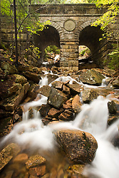Deer Brook flows under Deer Brook Bridge, part of the carriage road system in Maine's Acadia National Park.