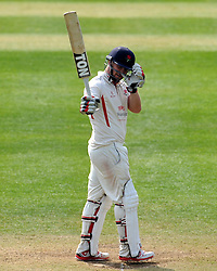 Lancashire's Steven Croft celebrates his century.  - Photo mandatory by-line: Harry Trump/JMP - Mobile: 07966 386802 - 08/04/15 - SPORT - CRICKET - Pre Season - Somerset v Lancashire - Day 2 - The County Ground, Taunton, England.