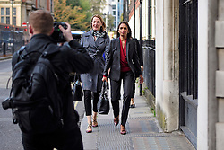 © Licensed to London News Pictures. 18/10/2016. London, UK. Investment manager GINA MILLER (right)  outside the High Court in London during a lunch break, on the third day of a legal challenge to a government decision not to seek parliamentary approval over Brexit negotiations. Ms Miller argues that individual members of the Cabinet have no legal power to trigger Article 50 of the Lisbon Treaty to leave the European Union without the prior authorisation of Parliament and MPs. Photo credit: Ben Cawthra/LNP
