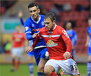 Ryan Seager, Matt Lund during the Sky Bet League 1 match between Crewe Alexandra and Rochdale at Alexandra Stadium, Crewe, England on 6 February 2016. Photo by Daniel Youngs.