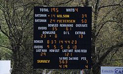 The scoreboard shows Surrey's Kevin Pietersen reaching his half century. - Photo mandatory by-line: Harry Trump/JMP - Mobile: 07966 386802 - 22/04/15 - SPORT - CRICKET - LVCC County Championship - Division 2 - Day 4 - Glamorgan v Surrey - Swalec Stadium, Cardiff, Wales.