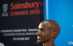 © Licensed to London News Pictures. 26/07/2013. London, United Kingdom. Mo Farah of Great Britain speak to members of the media during a press conference on day one of the Sainsbury's Anniversary Games - IAAF Diamond League at the Grange Tower Bridge Hotel. Photo credit : Justin Setterfield/LNP