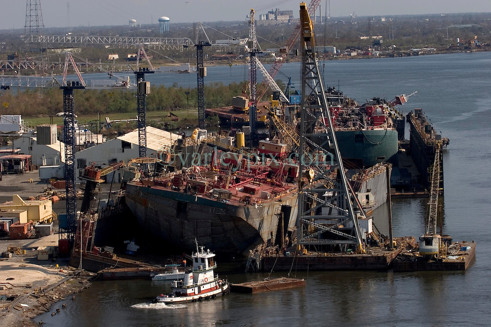 08 Sept 2005. New Orleans, Louisiana. Hurricane Katrina aftermath.<br /> The port of New Orleans sustained major damage due to the storm with potentially massive repercussions for the USA and the rest of the world.<br /> Photo; &copy;Charlie Varley/varleypix.com