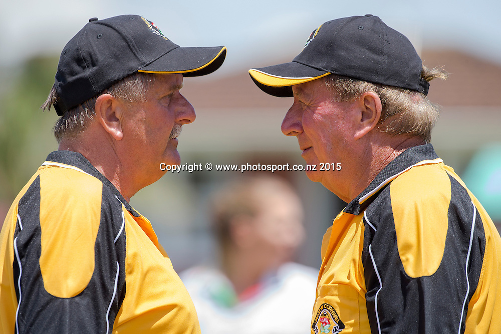 Carlton Cornwall`s Rob Ashton, left, confers with Petar Sain whilst playing in the men`s pairs final at the National Open Bowls Championship 2014, Browns Bay Auckland, New Zealand, Sunday, January 04, 2015. Photo: David Rowland/www.photosport.co.nz
