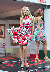 LIVERPOOL, ENGLAND, Thursday, April 7, 2011: A model at the Matalan fashion show during Liverpool Day on Day One of the Aintree Grand National Festival at Aintree Racecourse. (Photo by David Rawcliffe/Propaganda)