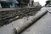 KAOHSIUNG, CHINA - AUGUST 04: (CHINA OUT) <br /> <br /> Gas Explosion Rips up entire road in china<br /> <br /> A part of pipe line is seen at a broken road after Kaohsiung\'s gas explosion on August 4, 2014 in Kaohsiung, Taiwam of China. Part of the pipeline was found wornout after 4 days of investigations. <br /> ©Exclusivepix