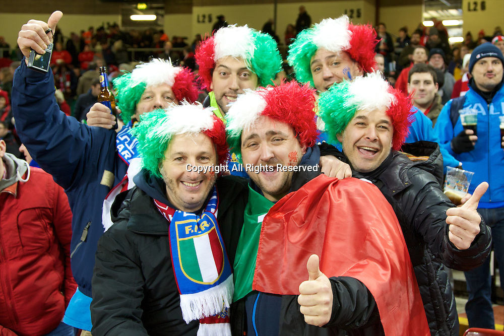 01.02.2014 Cardiff, Wales. Italy fans before the Six Nations game between Wales and Italy from the Millennium Stadium.
