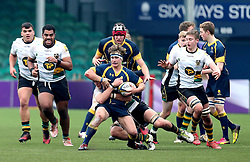 Charlie Jeavons-Fellows (The Scots College of Worcester Warriors U18 is tackled - Mandatory by-line: Robbie Stephenson/JMP - 22/01/2017 - RUGBY - Sixways Stadium - Worcester, England - Worcester Warriors U18 v Northampton Saints U18 - Premiership Rugby U18 Academy League