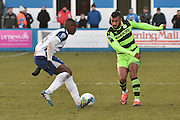 Forest Green Rovers Dan Wishart(17) and Barrow's Akil Wright (23)  during the Vanarama National League match between Barrow and Forest Green Rovers at Holker Street, Barrow, United Kingdom on 28 January 2017. Photo by Mark Pollitt.