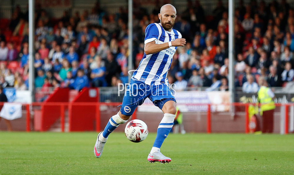 Bruno Salter in action during the Pre-Season Friendly match between Crawley Town and Brighton and Hove Albion at the Checkatrade.com Stadium, Crawley, England on 22 July 2015. Photo by Michael Hulf.