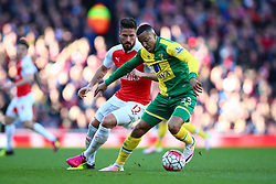 Olivier Giroud of Arsenal put pressure on Martin Olsson of Norwich City - Mandatory byline: Jason Brown/JMP - 07966386802 - 30/04/2016 - FOOTBALL - Emirates Stadium - London, England - Arsenal v Norwich City - Barclays Premier League