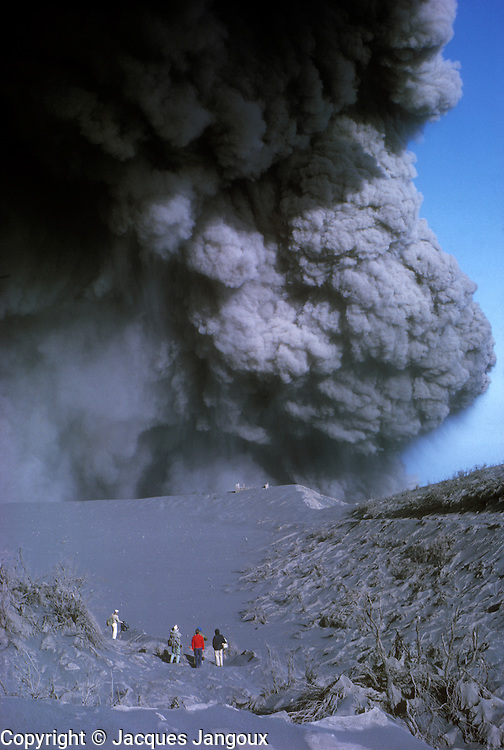 Central America. Costa Rica. Irazú volcano emitting volcanic ashes during 1963 - 1965 eruption.