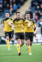 Livingston Mark McNulty cele scoring their goal.<br /> half time : Falkirk 0 v 1 Livingston, Scottish Championship game today at The Falkirk Stadium.<br /> &copy; Michael Schofield.
