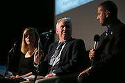 Veronica Volk of WXXI News, Gary Craig of the Democrat & Chronicle, and Brad Schneider, investigator for the Livingston County Sheriff's office, speak during the recording of the final episode of Finding Tammy Jo at The Little Theatre in Rochester on Monday, June 13, 2016.