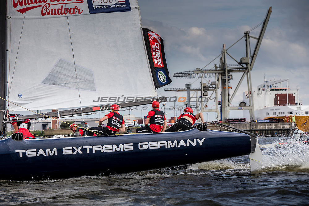 2015 Extreme Sailing Series - Act 5 - Hamburg.<br /> Team Extreme Germany skippered by Paul Kohlhoff (GER) and crewed by Johann Kohlhoff (GER), Peter Kohlhoff (GER), Max Kohlhoff (GER) and Philip Kasueske (DEN)<br /> Credit Jesus Renado.