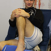 Mark Lynch in the treatment room at McDiarmid Park after a nasty ankle injury sustained against Livingston which will keep him out of the game for 4-6 weeks..until the end of his current loan period. Mark is hoping to come back on a new deal in the new year<br />