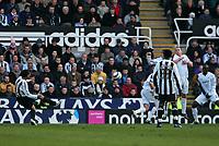 Photo: Andrew Unwin.<br />Newcastle United v Bolton Wanderers. The Barclays Premiership. 04/03/2006.<br />Newcastle's Nolberto Solano (L) scores his team's first goal.