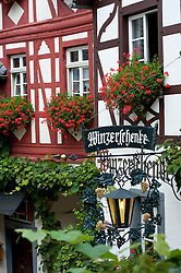 Historic houses in Beilstein village on River Mosel in Rhineland-Palatinate Germany