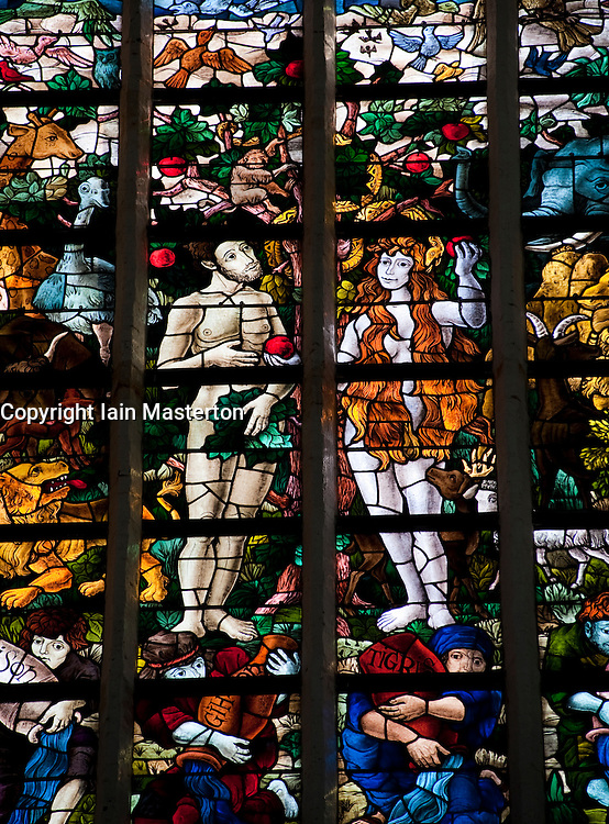 Stained glass windows in Oude Kerk or Old church in Delft The Netherlands