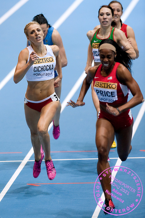 Angelika Cichocka of Poland competes in women's 800 meters final during the IAAF Athletics World Indoor Championships 2014 at Ergo Arena Hall in Sopot, Poland.<br /> Angelika Cichocka of Poland won silver medal.<br /> <br /> Poland, Sopot, March 9, 2014.<br /> <br /> Picture also available in RAW (NEF) or TIFF format on special request.<br /> <br /> For editorial use only. Any commercial or promotional use requires permission.<br /> <br /> Mandatory credit:<br /> Photo by &copy; Adam Nurkiewicz / Mediasport