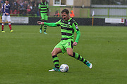 Forest Green Rovers Scott Laird(3) crosses the ball during the EFL Sky Bet League 2 match between Forest Green Rovers and Exeter City at the New Lawn, Forest Green, United Kingdom on 9 September 2017. Photo by Shane Healey.