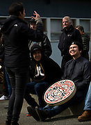 First Nations people gathered at the Victoria Native Friendship Centre to celebrate the raising of a new 6000 pound totem pole in Victoria, British Columbia Canada on Thursday March 24, 2016. The pole was carved by six Aboriginal Youth working with master carver Moy Sutherland with the project taking over four and a half months to complete. The theme of the pole is transformation and was part of an empowerment project training youth in the art of traditional carving. (KevinLightPhoto)