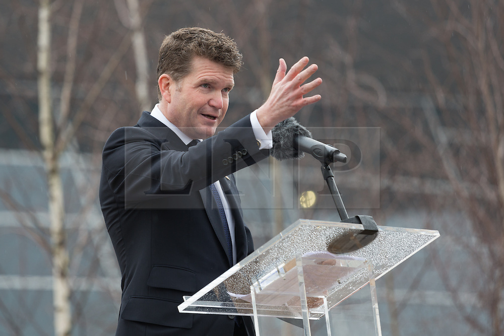 © Licensed to London News Pictures. 17/03/2015. London, UK. US Ambassador, Matthew Barzun speaks at a special ceremony to unveil a steel sculpture crafted out of the 9/11 Twin Towers' steel wreckage at the Queen Elizabeth Olympic Park in Stratford today. The artwork by American artist, Miya Ando commemorates the 10th anniversary of the 9/11 attacks and stands at 28 feet tall and weighs over 4 tons. Photo credit : Vickie Flores/LNP