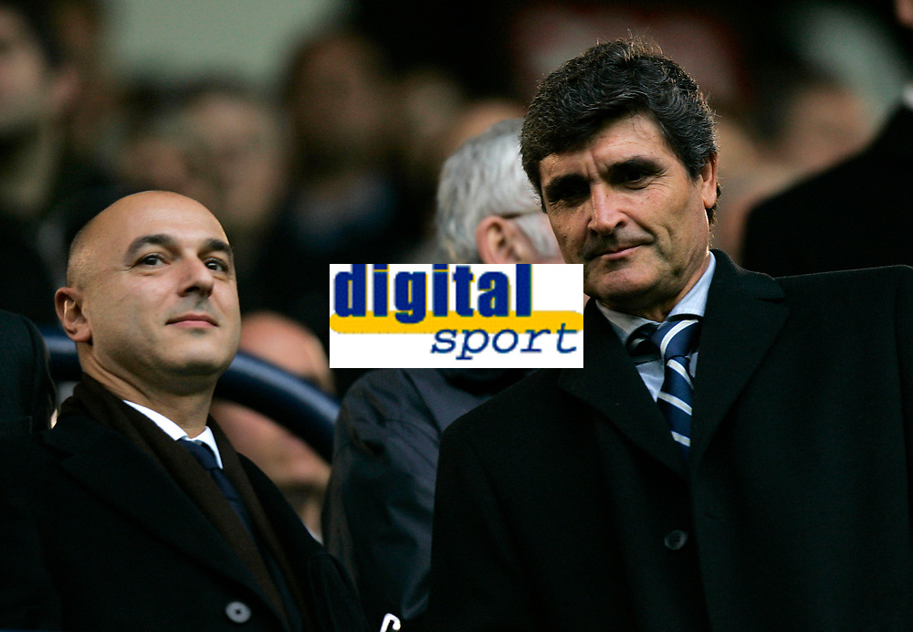 Photo: Tom Dulat.<br /> <br /> Tottenham Hotspur v Blackburn Rovers. The FA Barclays Premiership. 28/10/2007.<br /> <br /> Spurs chairman Danielle Liuvey(L) and new manager Juande Ramos(R) minutes before kick off