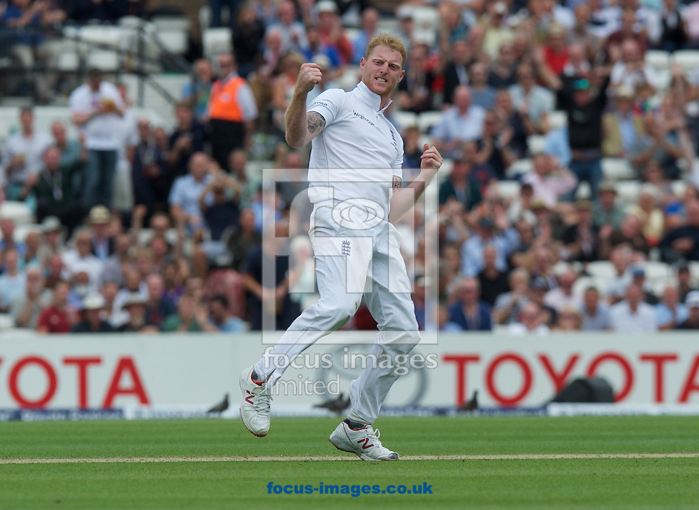 Ben Stokes of England celebrates taking the wicket of Captain Michael Clarke of Australia during the 5th Investec Ashes Test Match match at the Kia Oval, London<br /> Picture by Alan Stanford/Focus Images Ltd +44 7915 056117<br /> 20/08/2015