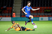 AFC Wimbledon defender Callum Kennedy (23) battles for possession with Barnet midfielder Mauro Vihete (20) during the EFL Trophy match between Barnet and AFC Wimbledon at Underhill Stadium, London, England on 29 August 2017. Photo by Matthew Redman.
