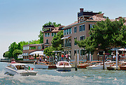 Hotel Cipriani and private dock on Giudecca Island, in Venice, Italy